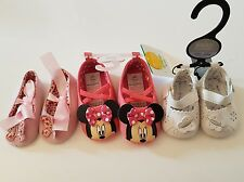 Newborn Baby Girls shoe bundle 3 pairs white, pink, Minnie mouse ages 0-3 - 9-12