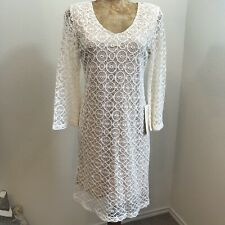 NWT Boston Proper Lace Dress Sz S 3/4 Bell Sleeves Zipper Back Cocktail Wedding