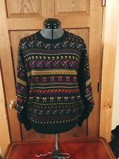 Men'S Vintage Geometric Meister Birds Eye Knit Ski Wool Sweater Size M