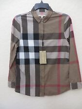 BURBERRY BRIT  TAUPE BROWN COTTON  SHIRT SIZE XS MSRP $ 350