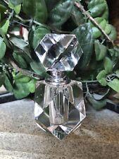 Vintage Oleg Cassini Crystal Perfume Bottle With Crystal Stopper, 3.25� Tall