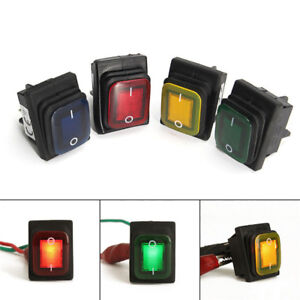 Waterproof 4 Pin 12V LED Rocker Toggle Switch Momentary Car Boat Marine On-of Cw