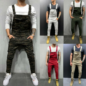 Mens Denim Dungaree Pants Jumpsuit Overall Casual Playsuit Jeans Romper Trousers