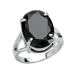 Jewelco London Silver Black Oval CZ Solitaire Ring
