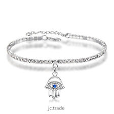 White Gold Plated Silver Cute Hand Evil Eye Mix Cubic Zircon Bracelet For Girl
