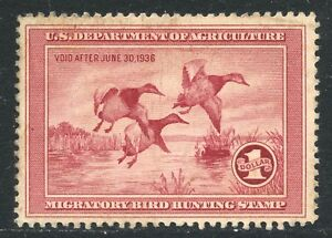 1935 $1 DUCK STAMP UNSIGNED RW2