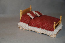 New Dollhouse Miniature Oak Bed with Burgundy Cover and 2 pillows
