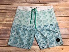 RVCA VA Vintage Brushed Faded Green Striped Polka Dots Trunks Board Shorts 38