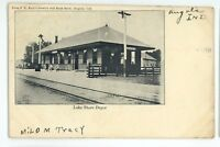 Early! Lake Shore Railroad Station Depot ANGOLA IN Vintage Indiana Postcard