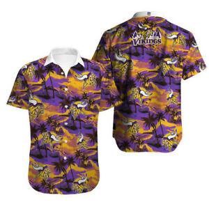 Minnesota Vikings Summer Hawaiian Shirt Casual Button Down Shirts Short Sleeve