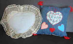 2 Pillows Heart Shape Ruffled Blue & Denim Square Sweet Romantic FREE SH