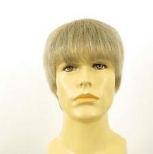 Perruque homme 100% cheveux naturel blanc méché gris ref ALAN 51