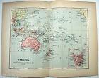 Original 1895 Map of Oceania by  W & A.K. Johnston. Antique