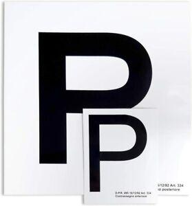 """Contrassegno Elettrostatico """"P"""" Principiante, Set di 2 Pz Anteriore + Posteriore"""