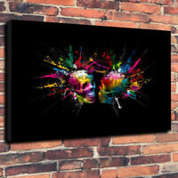 """Abstract Lovers Skulls Wall Art Printed Canvas Picture A1.30""""x20"""" 30mm Deep"""