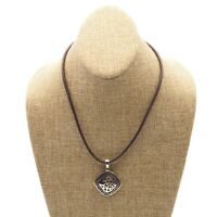Vintage Estate Lia Sophia Silver Tone Pendant Brown Leather Necklace 18 Inch