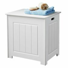 STORAGE CHEST CABINET WHITE WOOD BASKET LAUNDRY BIN