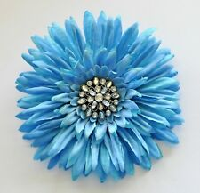"5"" Sky Blue Gerbera Daisy Silk Flower Hair Clip Pinup Pin"