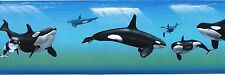 """ORCA WHALE WALLPAPER BORDER 9"""" WIDE X 144"""" LONG PRE-PASTED."""