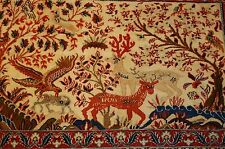 c1930s ANTIQUE ANIMAL SUBJECTS SILK ACCENTS_KORK WOOL  PERSIAN KASHAN RUG 2x3.2