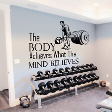 Wall Decals Quotes Sport The Body Achieves Gym Bedroom Decal Vinyl Decor DA3792