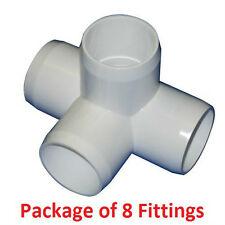 "1"" Furniture Grade 4-Way Side Outlet Tee PVC Fitting - 8 Pack"