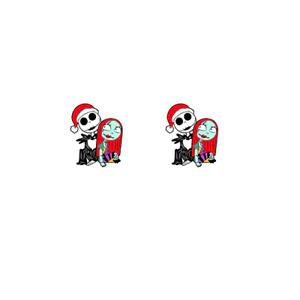 The Nightmare Before Christmas Jack + Sally Stud Earrings Halloween Xmas Hat UK