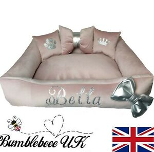 Personalised dog cat bed Mediumpink grey velvet silver washable