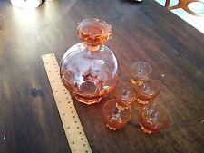 Bottiglia vetro rosa antico 5 bicchieri Italia rosolio liquore prima metà 900