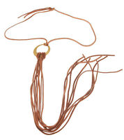 Tan Leather Tie necklace on Brass Circle Made in USA by Carolyn Carrara at Twigs