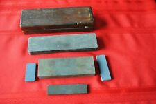 Six Vintage Knive Sharpening Stones, Wooden Case, Old Tools