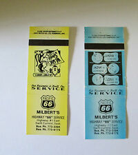 2 VINTAGE MILBERTS PACIFIC 66 GAS MATCHBOOK COVERS SWIFT CURRENT SASKATCHEWAN