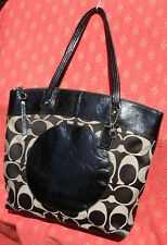 COACH Large Black Jacquard LAURA Tote Purse Patent Leather Trim F18335