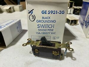Box of 7 GE 5931-3G Black Grounding Switches Single Pole 15A 120/277VAC, NOS