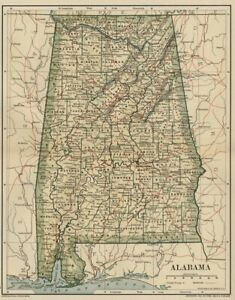ALABAMA Map: Genuine Dated 1891 Town, County, Railroads, Area, Population