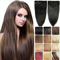 Full Head Double Weft Clip in Hair Extension Remy Human Hair Extensions Straight