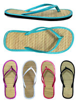 Women's Bamboo Flip Flop Summer Sandals Beach Casual Flats Shoes 5 Colors Solid
