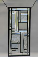 Clear Reflections•Contemporary Beveled Stained Glass Window Panel 20 3/4 x 9 3/4