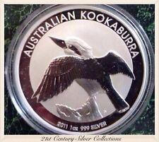 Flawless Fiery 2011 Australian Kookaburra 1oz 999 Silver Dollar Coin