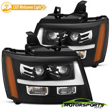 [Welcome Light] 07-14 Chevy Suburban/Tahoe/Avalanche Black Projector Headlights