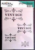 Stencil by Aurora Arts A4  Vintage motif set 190mic Mylar craft stencil 176