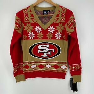 NFL Christmas Sweater Women's S Red Gold SF San Francisco 49ers Football New