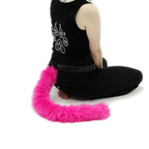 PAWSTAR Furry Kitty Tail - Cat Costume Black Adult Pet Play Furry Plush 3500