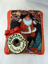 "Mary Engelbreit Pillow Believe Santa on rooftop 7.5 X 8.5"" + Ornament"