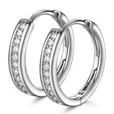 18K White Gold Diamond Hoop Earrings 274