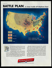 1954 Vintage Print Ads 50's Western Electric map united states weather bell