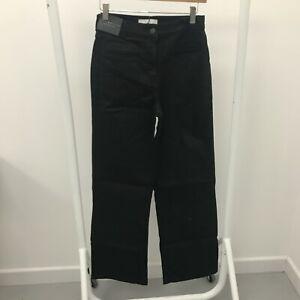 New Next Jeans Womens Size 8R Wide-Leg Black Denim Cotton Button Casual 293408