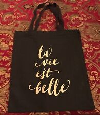 NEW La Vie Est Belle ~ LIFE IS BEAUTIFUL Reusable Tote SHOPPING BAG Grocery