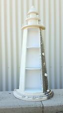 large LIGHTHOUSE w shelves, shells, net, rope beach wedding HANG/STAND nautical