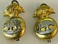WWII Canadian Edmonton Fusiliers Bi-Metal Collar Dog Pair (Rt & Lt) (Scully)